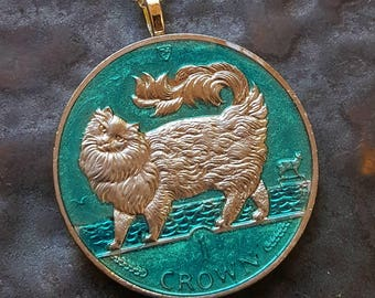 Isle of Man - Maine Coon Cat Coin Pendant - Hand Painted