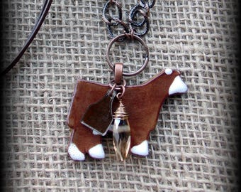 "Red Baldy or Hereford Show Steer Kiln Fired Pottery Pendant, Cattle Jewelry, Livestock Bead/Chain  Necklace, Approx 28"" (end to end)"