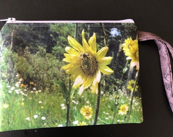 Zippered pouch, pouch, wristlet, clutch, sunflower, flower