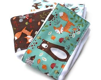 Burp Cloths - Woodland Burp Cloths - Animal Burp Cloth / Baby Clothes- Set of 3 // Cotton Diaper Burp Cloth / Baby Shower Gift / Foxes