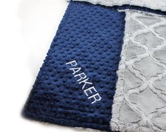 Personalized Baby Blanket For Boy / Minky Baby Blanket Gray Blue Lattice // Stroller Blanket // Name Baby Blanket / Baby Shower Gift