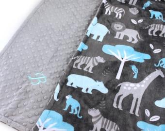 Personalized Minky Blanket / Animal Minky Baby Blanket Boy,  Blue Gray Zoo Animal Blanket / Custom Baby Blanket / Animal Baby Blanket