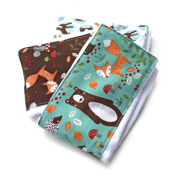 Burp Cloths - Woodland Burp Cloths - Animal Burp Cloth / Baby Clothes- Set of 3 // Cotton Diaper Burp Cloth / Baby Shower Gift / Foxes