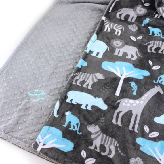 Personalized Minky Blanket / Animal Minky Baby Blanket Boy,  Blue Gray Zoo Animal Blanket / Custom Baby Blanket / Animal Baby Blanket