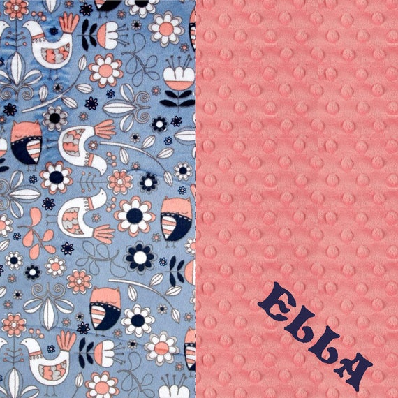 Baby Blanket, Personalized Minky Baby Blanket Girl Coral Navy Owl Birds - Nursery Decor / Mint Baby Blanket / Name Baby Blanket