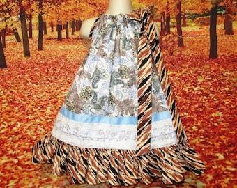 SALE Girls Dress 3T/4T Blue Paisley Print Blue Brown Pillowcase Dress, Pillow Case Dress, Sundress, Boutique Dress
