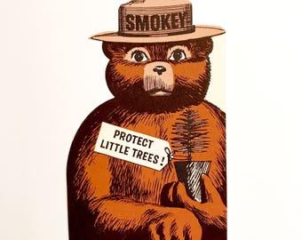 Vintage Bookmark Smokey the Bear Die Cut Book Mark Ruler