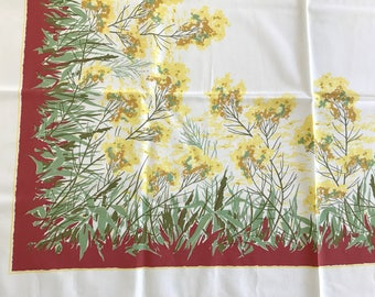 Vintage Tablecloth, Yellow Floral, Rectangular Table Cloth, MID CENTURY Pattern, Simtex Design