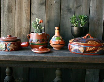 Mexican Ceramic Pots Hand Painted Choose Between 5 From Nowvintag on Etsy