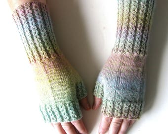 Long Fingerless Mittens, size M/L