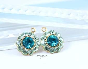 Chrysolite & Blue Zircon Swarovski Rhinestone Flower Drops Earring Findings 13mm - 2