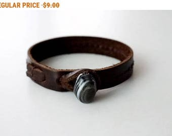 Leather Bracelet Leather Cuff Bracelet Leather Bangle in Brown color with Agate Button
