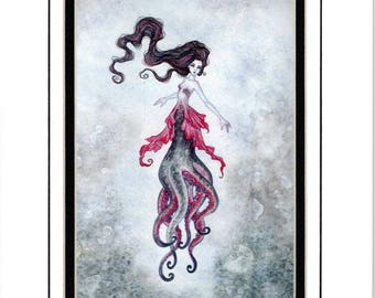 Hand Accented MERMAID Octopus PRINT 5x7 matted 8x10 by Amy Brown