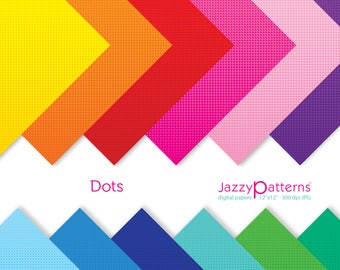 Halftone dots digital papers in rainbow colors, pop art background, comic book background DP108