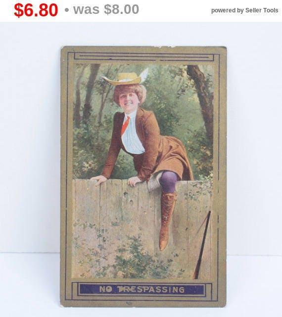 Edwardian Equestrian Woman Postcard Woman Climbing Fence No Trespassing Sign 1910s