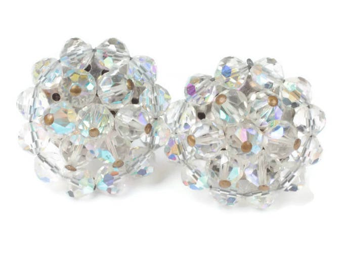 AB Crystal Bead Cluster Earrings Clip On Large Glitzy Bridal Wedding