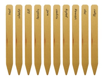 Herb Garden Markers | Set Of Ten Wooden Stakes