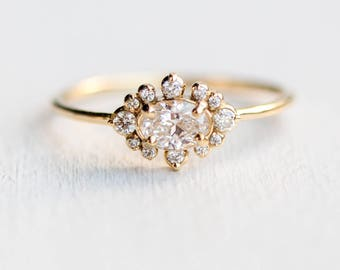 Castle in the Clouds Ring // Oval Diamond Halo Engagement Ring // Oval White Diamond Cluster Ring in Solid 14k Gold