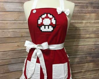 8-Bit Mario Super Mushroom Embroidered Apron