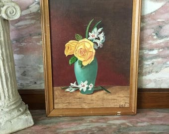 Christmas Sale Vintage Oil Painting VASE OF ROSES Yellow Flowers Framed 9x12 Small Primitive
