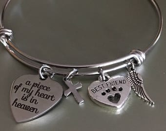 A piece of my heart,Is in heaven,Bangle bracelet,Personalized jewelry,Jewelry,Bracelets,Custom jewelry,Gift for her,Gift idea,Bangles