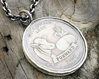 Sterling Silver Wisconsin Pendant Handmade Wisconsin Coin Necklace