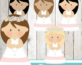Communion girl cliparts - COMMERCIAL USE OK