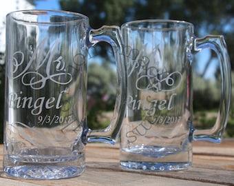 Mr & Mrs etched mugs ~ beer mugs ~ wedding mugs ~ House warming gift ~ personalized mugs ~ Wedding gift ~ Anniversary gift ~ Bridal shower
