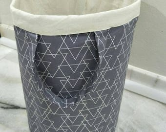 Gray Laundry Bag/ Linen Hamper/ Grocery Basket/Cloth organizer/ Toy Storage/ Country Home decor