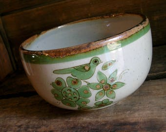 Vintage El Palomar Deep Bird Serving Bowl / Ken Edwards / Mexican Pottery / Stoneware