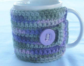 Crochet Cozy for Coffee Mug/Cup in Lavendar Blue