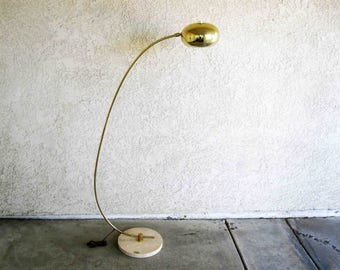 Vintage Arc Lamp in Brass with White Marble Base. Circa 1960's - 70's.