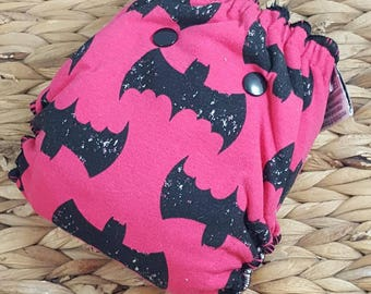 Pink Batcall - Newborn (7-12#) Hidden PUL w/Bamboo/OBV Soaker Fitted Cloth Diaper