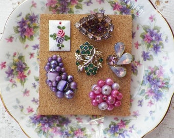PInk, Purple, Green Vintage Jewelry Thumbtacks / Push Pins / Thumb Tacks, Guilloche, Home Office, Bulletin Board Bling, Colorful Rhinestones