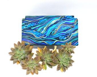 Blue Clutch Wallet for Women - Ladies Wallet with Coin Pocket - Fabric Cash Wallet - long wallet - card holder wallet - smartphone wallet