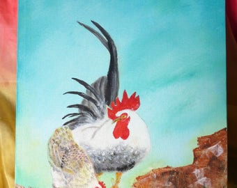 Rooster and hen - Arylic painting - Chinese style - Painted in New Zealand