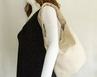 Cream Faux Suede Handbag, medium slouchy hobo shoulder bag, lightly padded suede look handbag, women's everyday fashion bag