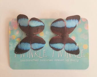 1 Pair Blue Morpho Blue Black Silk Butterfly Hairclips