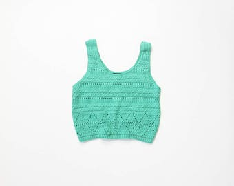 90s Crop Top Sweater Teal Midriff Pullover Cropped 1990s Belly Shirt Cable Knit Turquoise Pointelle Soft Grunge Aesthetic Small Medium