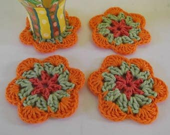 Tropical Flower Coasters - Drink Coasters - Set of four - ready to ship