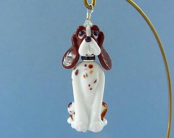 Basset Hound Ornament - Lampwork Glass Creation - SRA