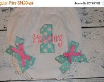 ON SALE Personalized Birthday Bloomers Monogram Diaper Cover First Birthday