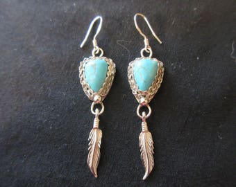 Sterling Silver Feather Themed Arizona Turquoise Hook Earrings
