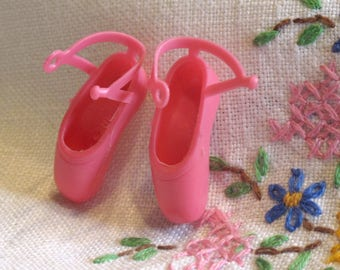 Pink Barbie Doll Ballet Toe Shoes with Straps - One Pair Barbie Doll Pink Accessory
