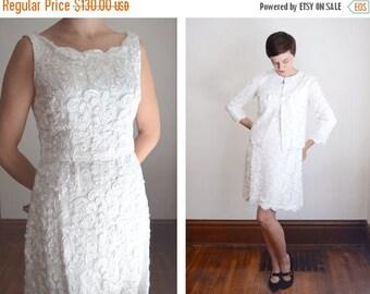 Summer Sale - 50s/60s White Soutache Dress and Jacket - M