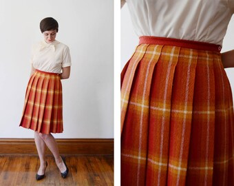 1960s Orange and Red Plaid Skirt - S
