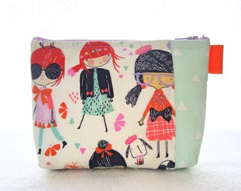 Cute Girl with Books Cosmetic Bag Fabric Zipper Pouch Makeup Bag Alexander Henry Fabric Gadget Pouch Girl in Glasses Puppies Redheads