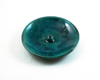 Handmade Raku Ceramic Pottery Teal Crackle Incense Burner