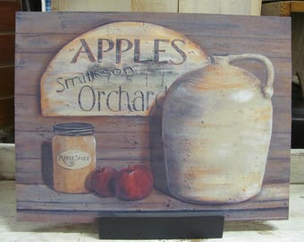 Kitchen Wall Decor,Primitive Kitchen Wall Decor,Country Kitchen Wall Decor,Apple Wall Decor,Wooden Sign,12x16,Pam Britton