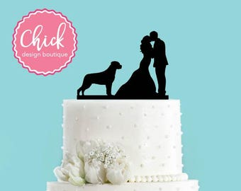 Couple Kissing with Rottweiler Dog Acrylic Wedding Cake Topper